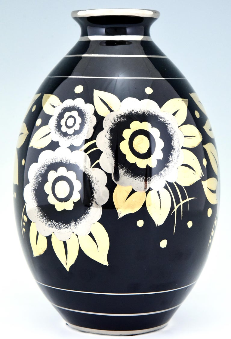 Belgian Art Deco Ceramic Vase with Flowers Black, Silver and Gold Boch Freres, 1936