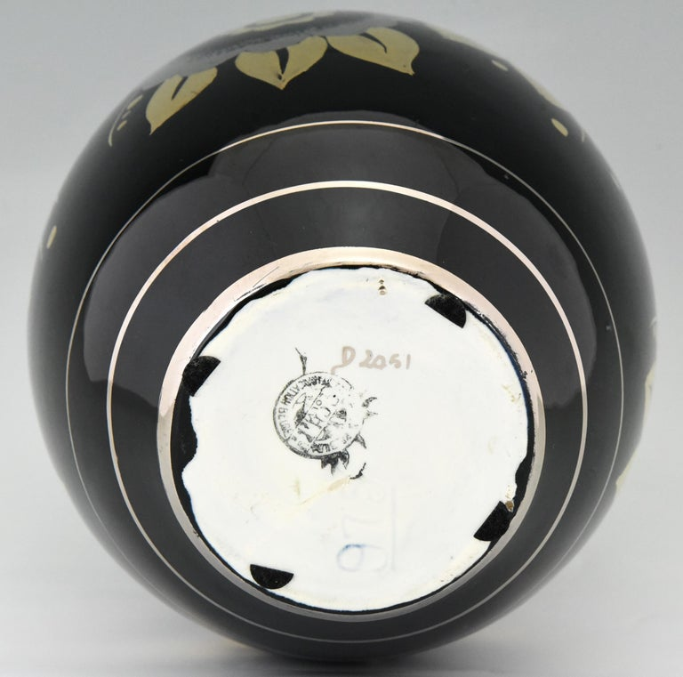 Art Deco Ceramic Vase with Flowers Black, Silver and Gold Boch Freres, 1936 1