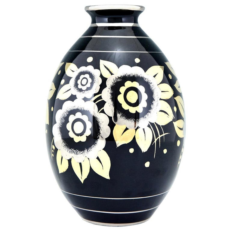 Art Deco Ceramic Vase with Flowers Black, Silver and Gold Boch Freres, 1936