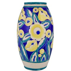 Art Deco Ceramic Vase with Flowers Keramis, Belgium, 1932