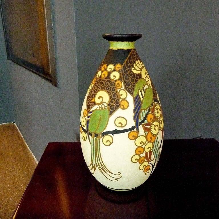 Belgian Art Deco Ceramic Vase with Parrots Decor by Boch Frères Keramis, Belgium Pottery For Sale