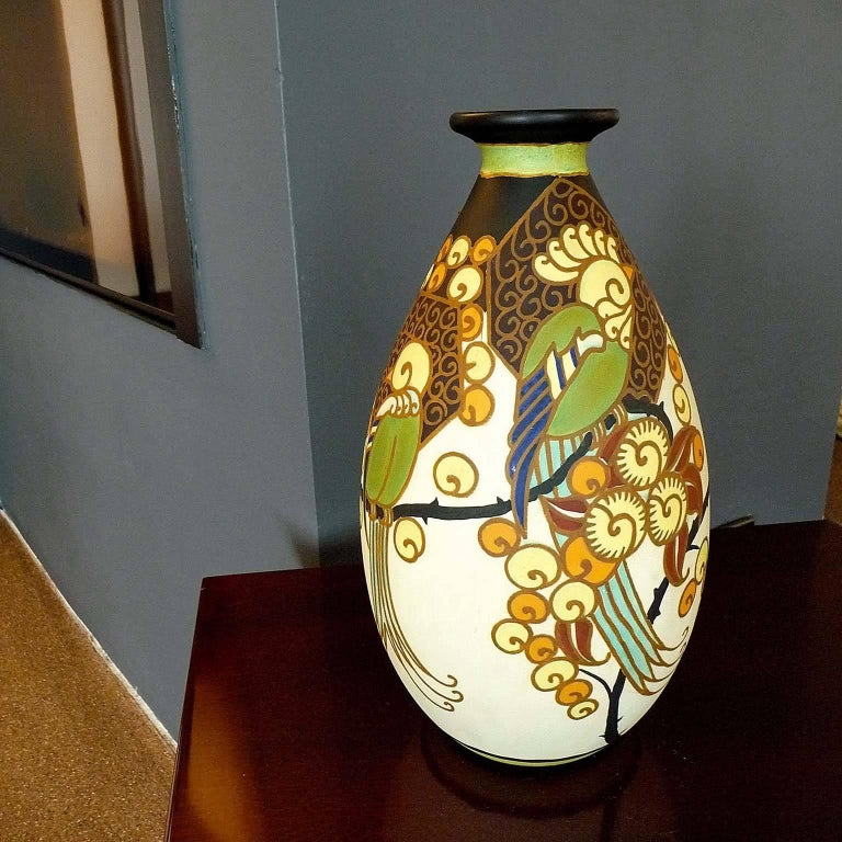 Art Deco Ceramic Vase with Parrots Decor by Boch Frères Keramis, Belgium Pottery In Excellent Condition For Sale In Bochum, NRW