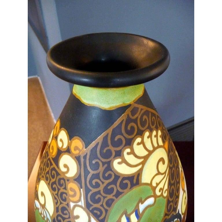 20th Century Art Deco Ceramic Vase with Parrots Decor by Boch Frères Keramis, Belgium Pottery For Sale