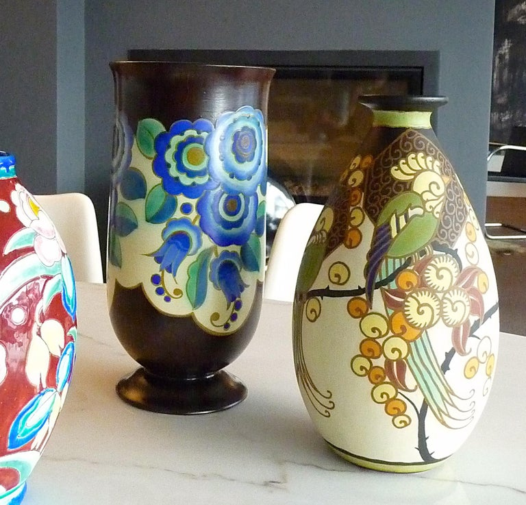 Art Deco Ceramic Vase with Parrots Decor by Boch Frères Keramis, Belgium Pottery For Sale 2