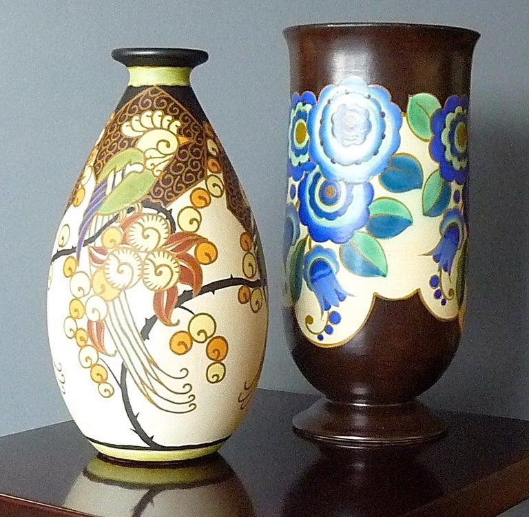 Art Deco Ceramic Vase with Parrots Decor by Boch Frères Keramis, Belgium Pottery For Sale 3