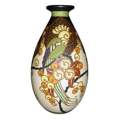 Art Deco Ceramic Vase with Parrots Decor by Boch Frères Keramis, Belgium Pottery