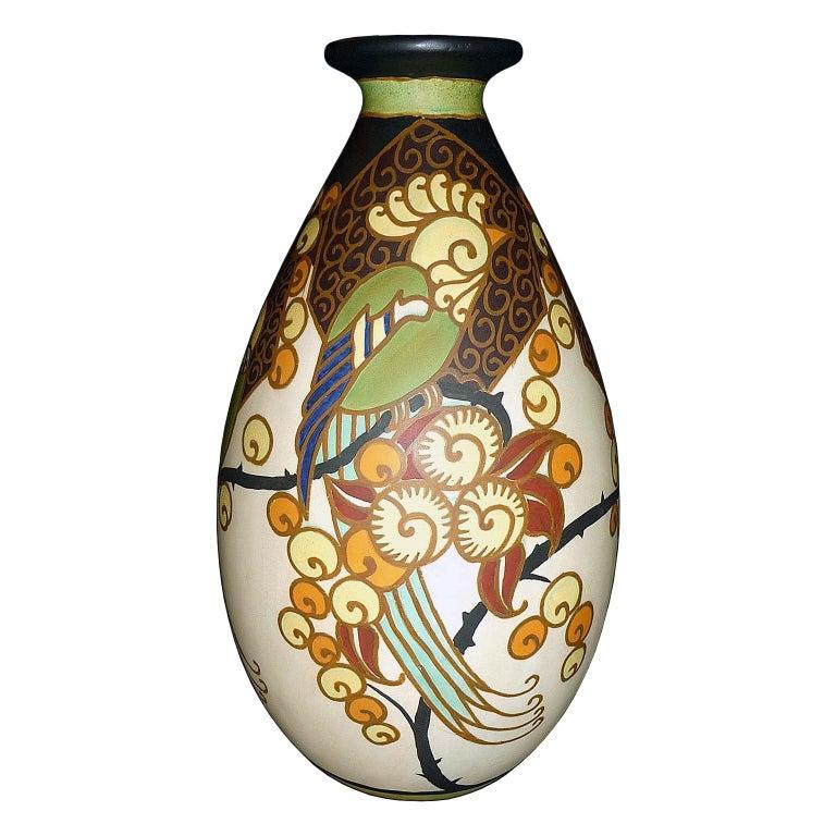 Art Deco Ceramic Vase with Parrots Decor by Boch Frères Keramis, Belgium Pottery For Sale