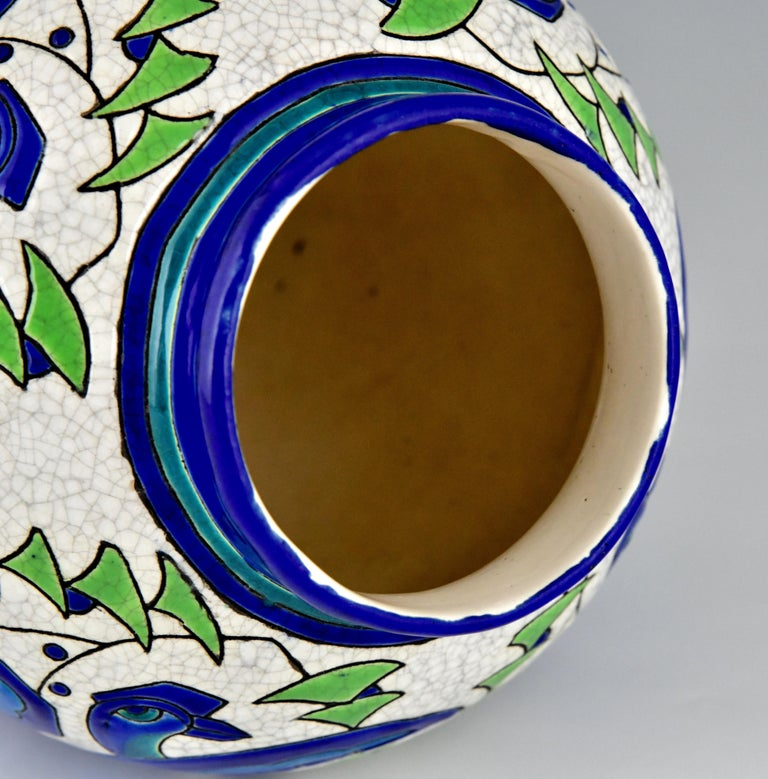 Art Deco Ceramic Vase with Stylized Birds, Charles Catteau for Keramis, 1931 For Sale 4