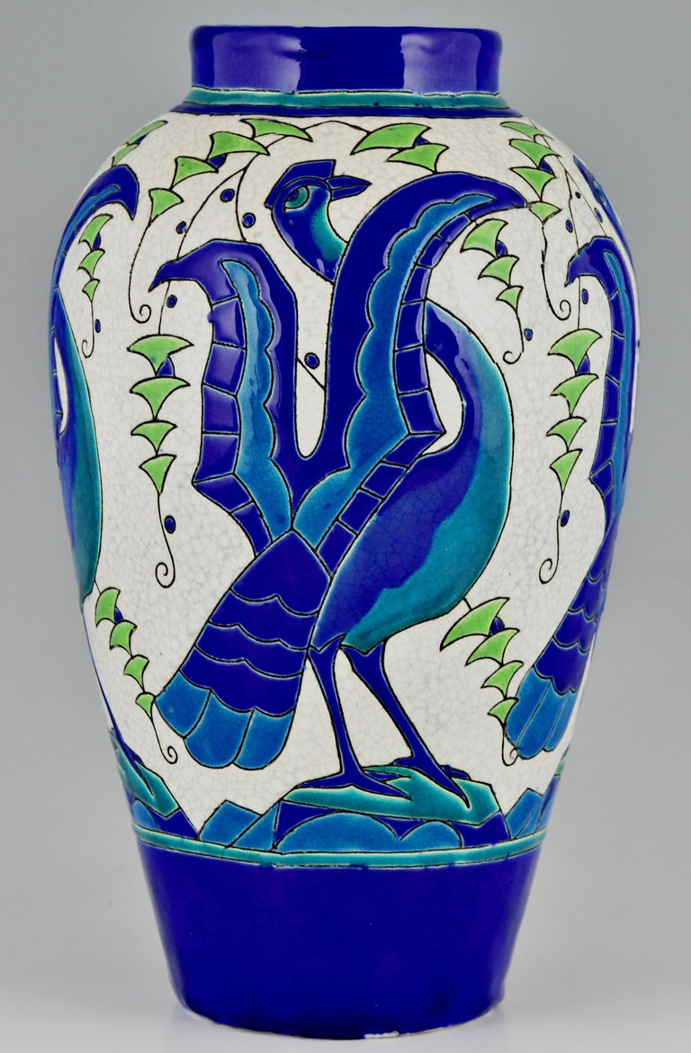 Enameled Art Deco Ceramic Vase with Stylized Birds, Charles Catteau for Keramis, 1931 For Sale