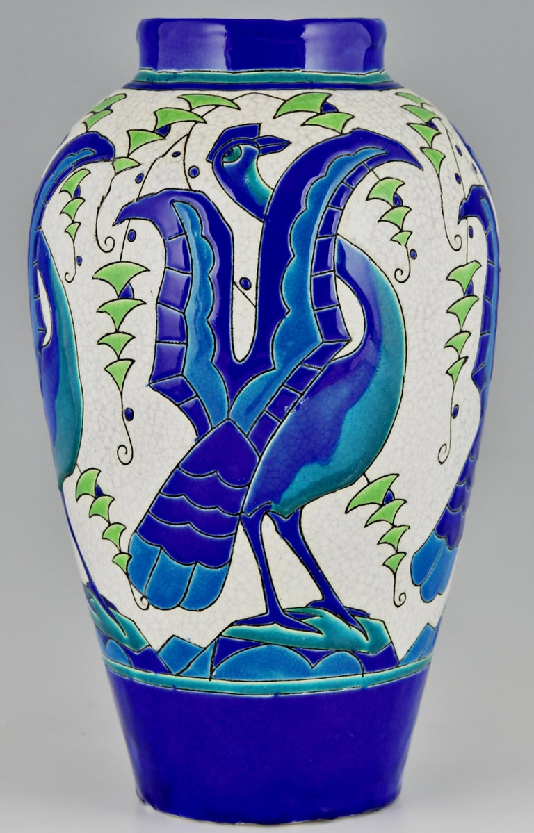 Art Deco Ceramic Vase with Stylized Birds, Charles Catteau for Keramis, 1931 In Good Condition For Sale In Antwerp, BE