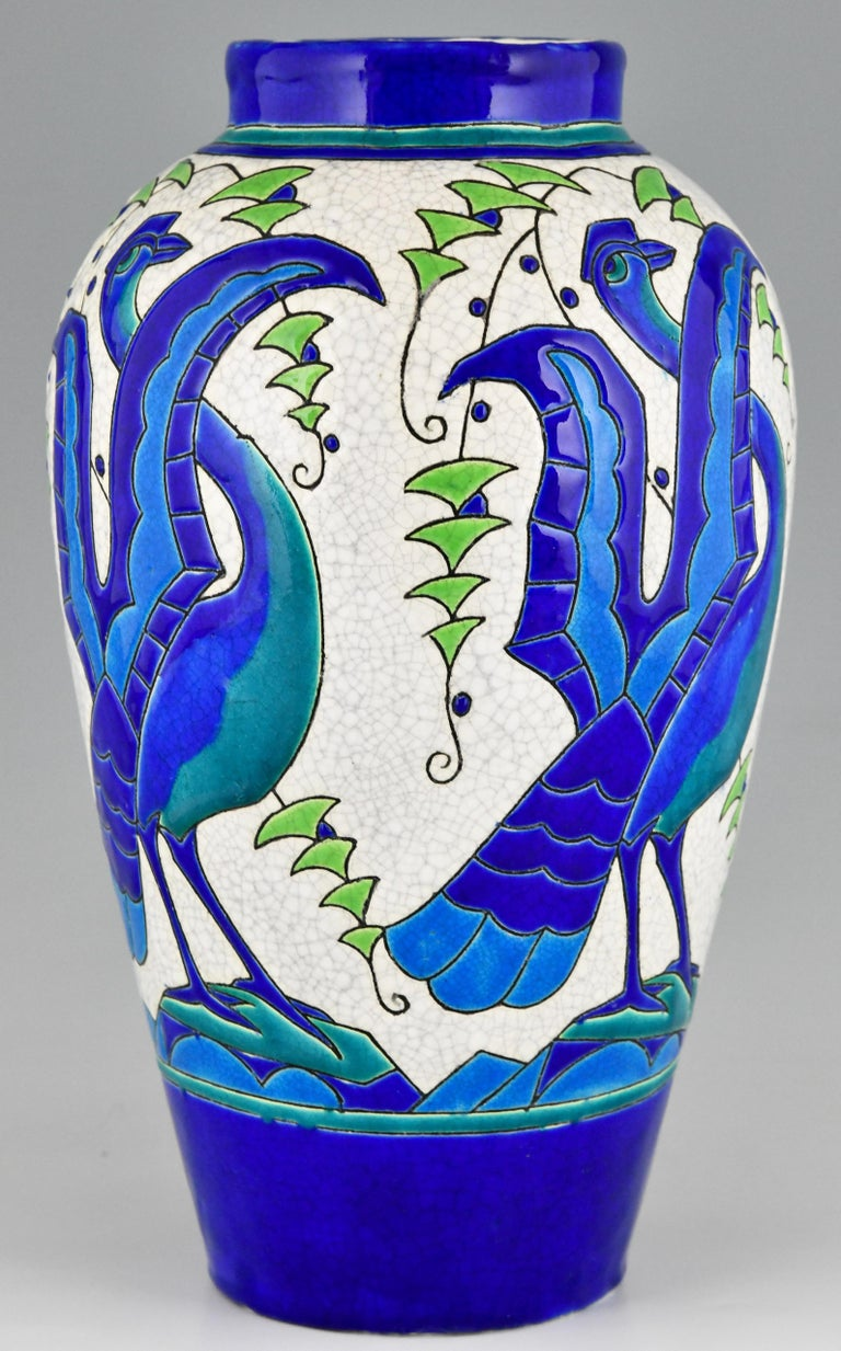 Art Deco Ceramic Vase with Stylized Birds, Charles Catteau for Keramis, 1931 For Sale 1
