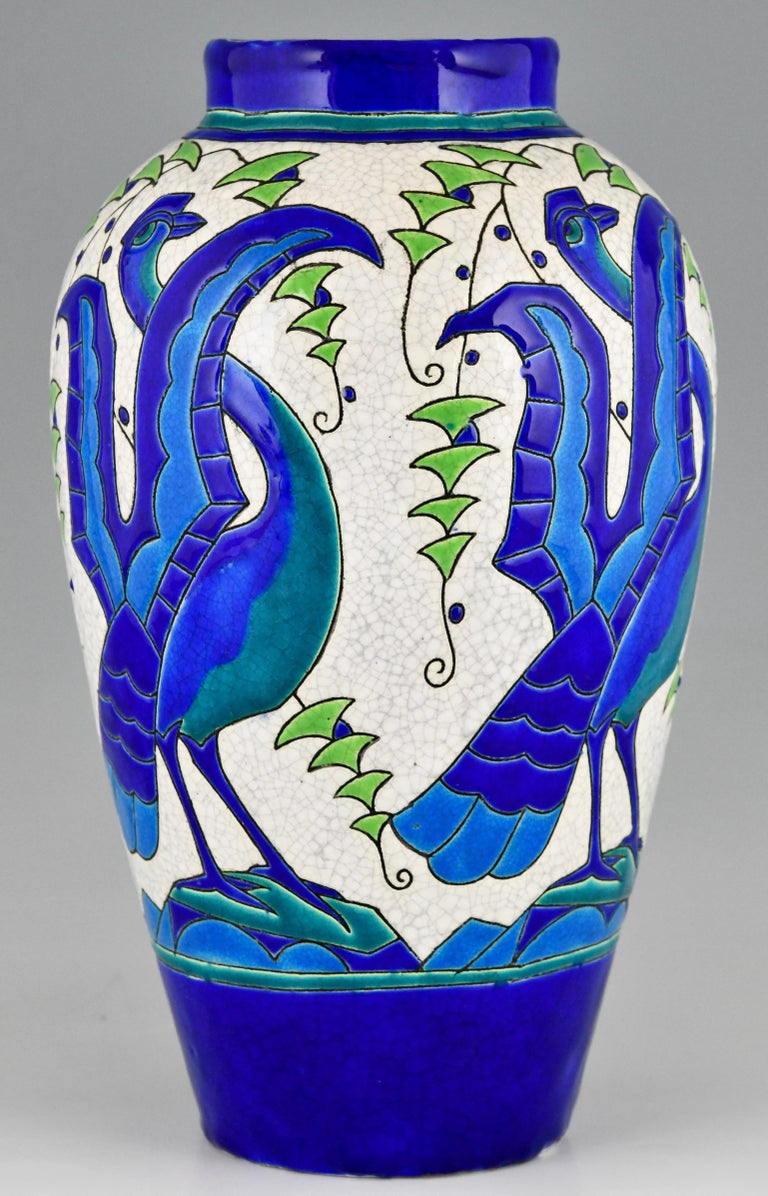 Art Deco Ceramic Vase with Stylized Birds, Charles Catteau for Keramis, 1931 For Sale 2
