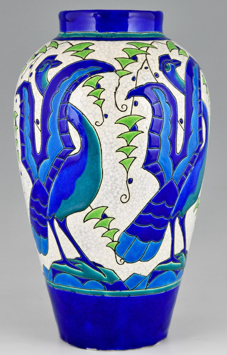 Art Deco Ceramic Vase with Stylized Birds, Charles Catteau for Keramis, 1931 For Sale 3