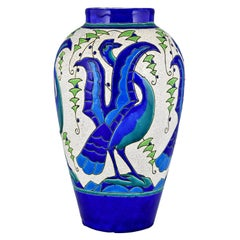Art Deco Ceramic Vase with Stylized Birds, Charles Catteau for Keramis, 1931