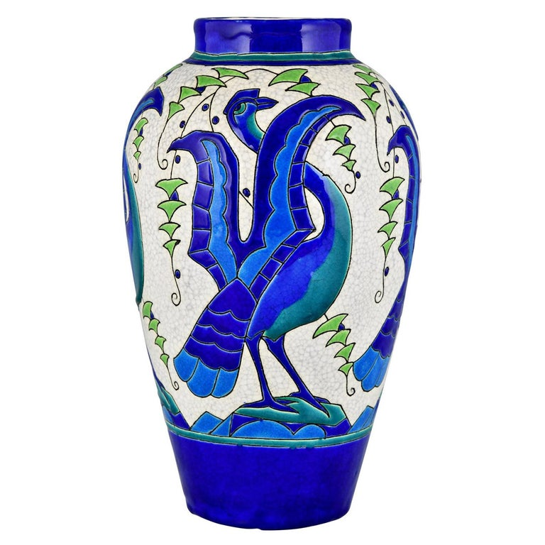 Art Deco Ceramic Vase with Stylized Birds, Charles Catteau for Keramis, 1931 For Sale