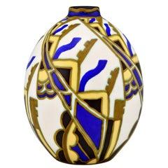 Art Deco Ceramic Vase with Stylized Floral Motifs Vittorio Bonuzzi for Boch 1929