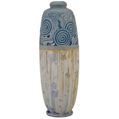 Art Deco Ceramic Vase with Stylized Flowers Gaston Ventrillon for Mougin Nancy