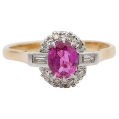 Art Deco Certified Burma No Heat Pink Sapphire Diamond Plat 18 Karat Ring