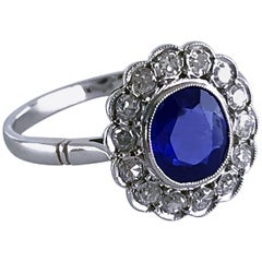 Art Deco Certificated Untreated Burma Blue Sapphire 1.44 Carat Diamond Ring