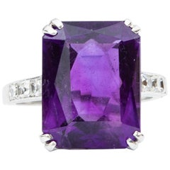 Art Deco Certified 13.54 Carat Siberian Amethyst Diamond Ring