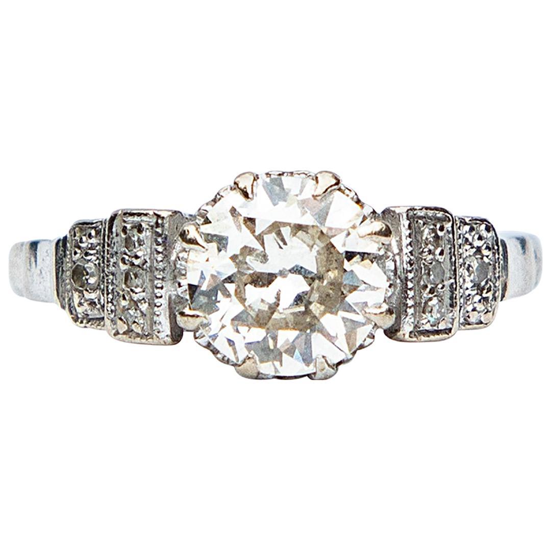 Art Deco Certified 1.65 Carat Diamond Solitaire Ring