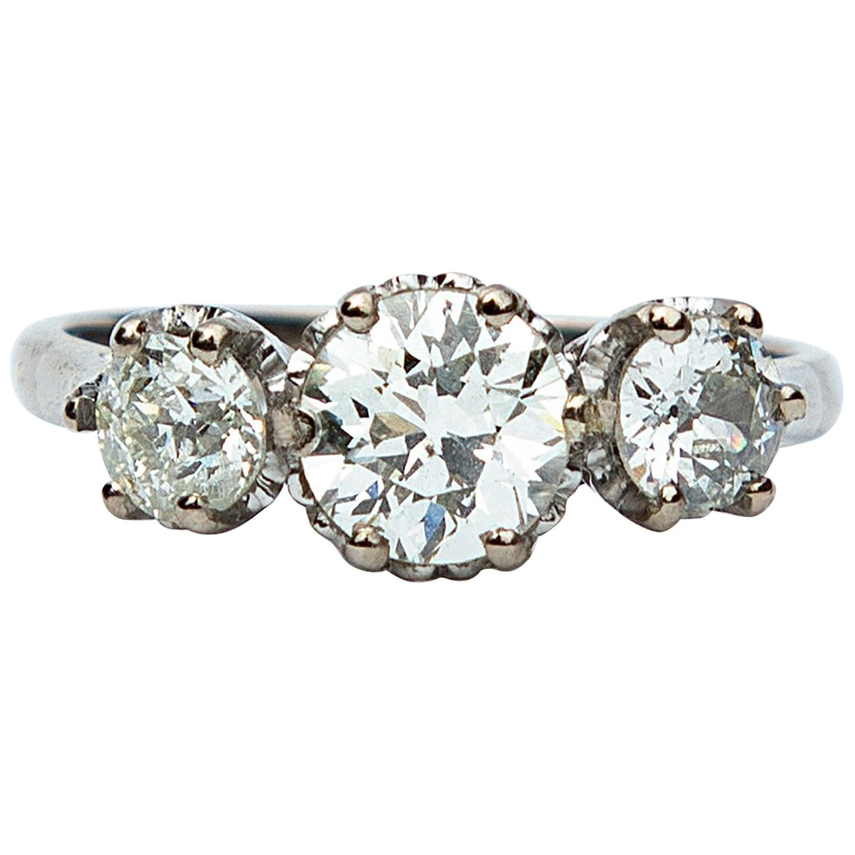 Art Deco Certified 1.85 Carat Diamond Three-Stone Ring