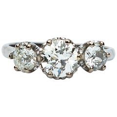 Art Deco Certified 1.85 Carat Diamond Three-Stone Ring