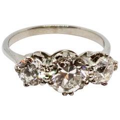 Art Deco Certified 2.68 Carat Three-Stone Old Cut Diamond Platinum Ring