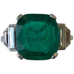 Art Deco Certified 3.40 Carat Columbian Emerald and Diamond Ring Minor Oil