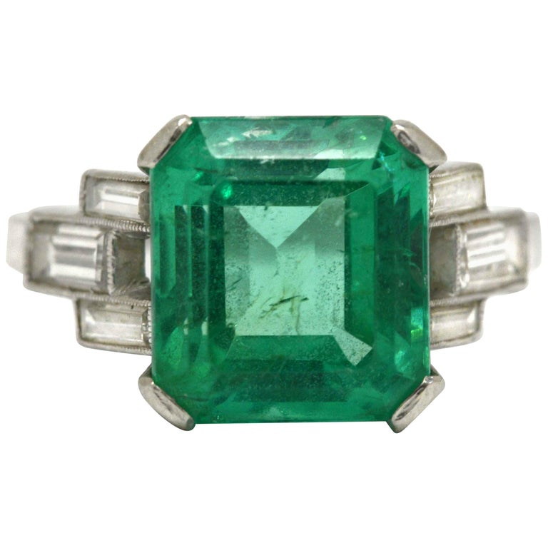 Art Deco Certified 5.47 Carat Colombian Emerald Cocktail Ring Engagement Wedding