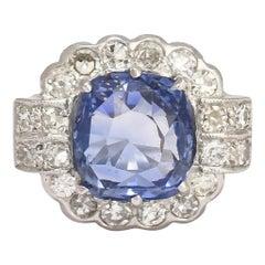 Art Deco Certified 6.64 Carat Ceylon Cornflower Sapphire Ring