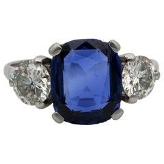Art Deco Certified Burma Sapphire Diamond Trilogy Platinum Ring