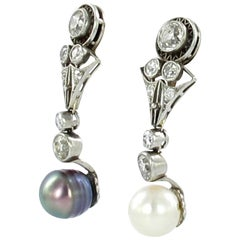 Art Deco Certified Natural Pearls and Diamond Platinum Drop Earrings