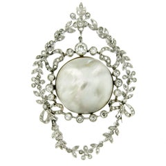 Art Deco Certified Natural Salt Water Pearl Diamond Pendant
