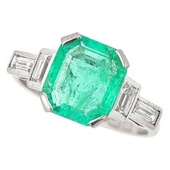 Art Deco Certified Untreated 3.4ct Columbian Emerald and Baguette Diamond Ring