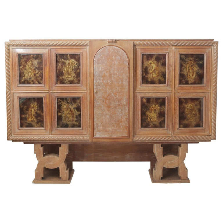 Art Deco Cerused Oak & Verre Églomisé Cabinet in the Style of Moreux, circa 1940 For Sale