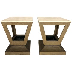 Art Deco Cerused Wood/Travertine End/Side Tables with Planters