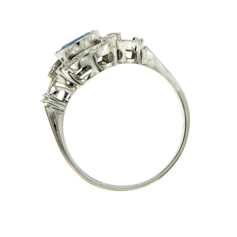 Art Deco Ceylon Sapphire Diamond Gold Ring For Sale 1