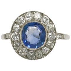 Art Deco Ceylon Sapphire Engagement Ring Antique Gemstone Cluster Cornflower
