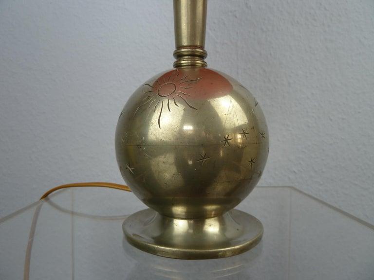 Early 20th Century Art Deco C. G. Hallberg Svenskt Tenn Pewter Table Lamp, Sweden For Sale