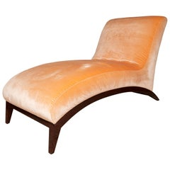 Art Deco Chaise Lounge in Pink Mohair
