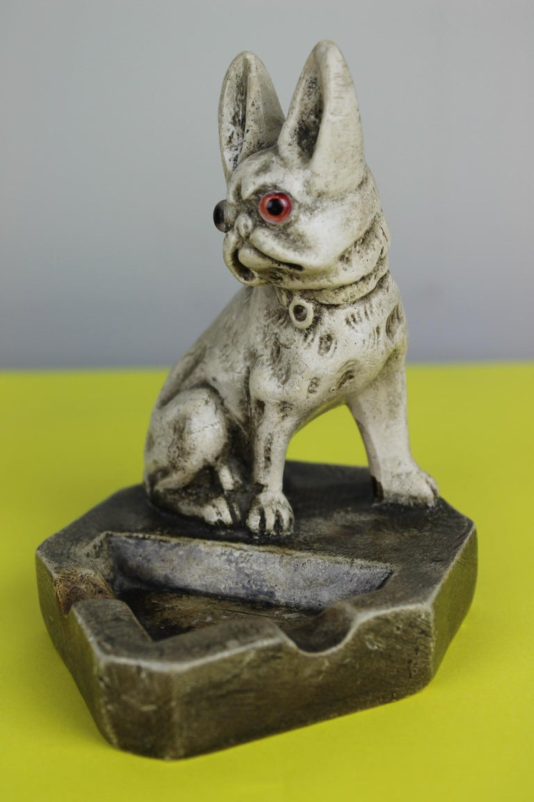 Art Deco Chalkware French Bulldog Figurine Ashtray For Sale 6