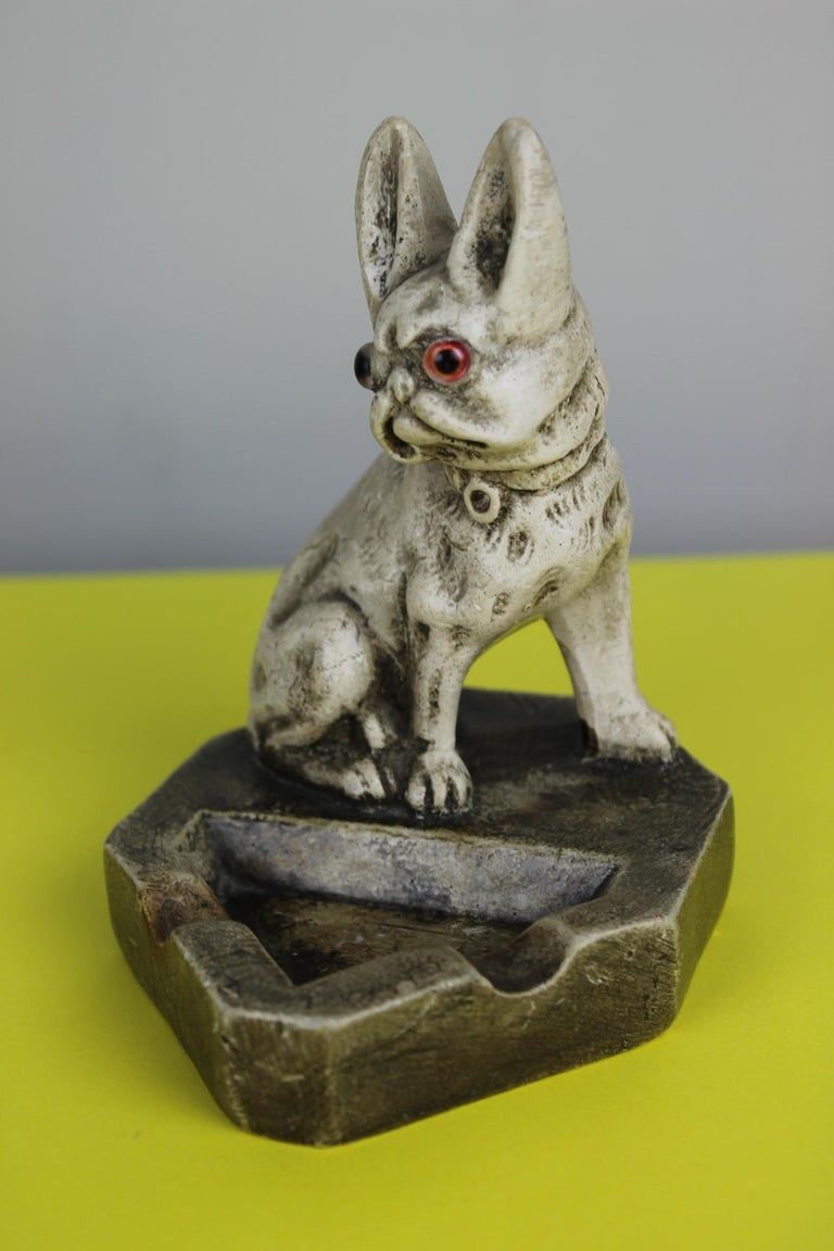 Art Deco Chalkware French Bulldog Figurine Ashtray For Sale 3