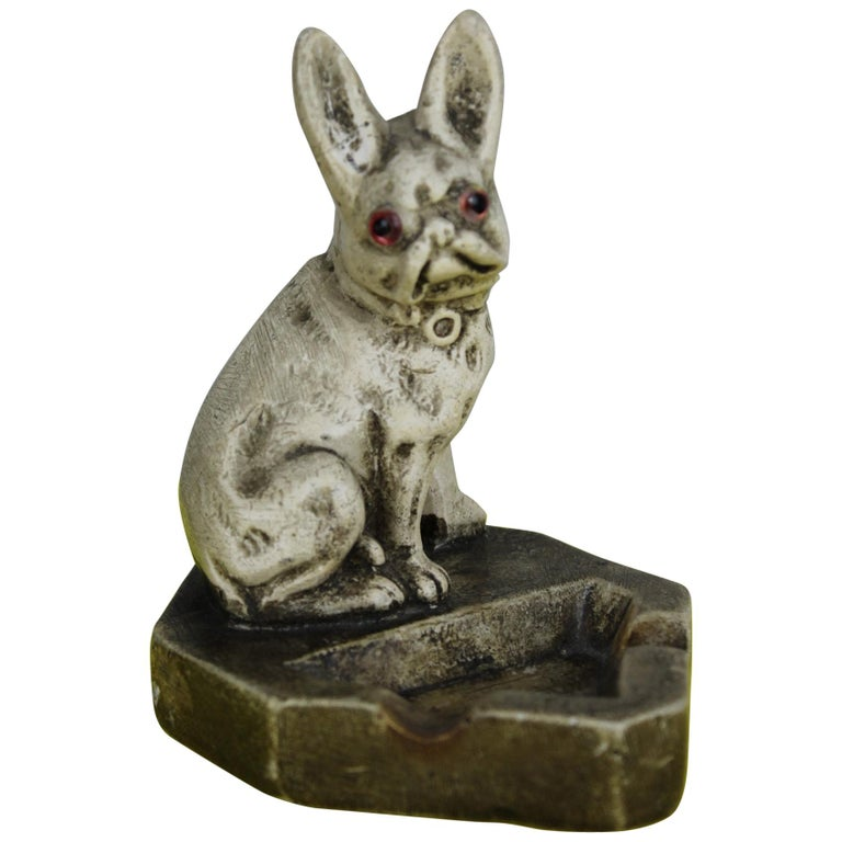 Art Deco Chalkware French Bulldog Figurine Ashtray For Sale