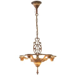 New York Art Deco Metal Chandelier, 1925 / Original