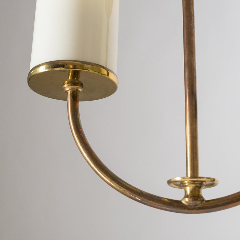 Art Deco Chandelier, 1930s, Ivory Glass and Brass For Sale 6