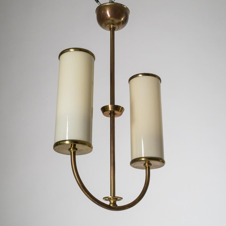 Art Deco Chandelier, 1930s, Ivory Glass and Brass For Sale 7