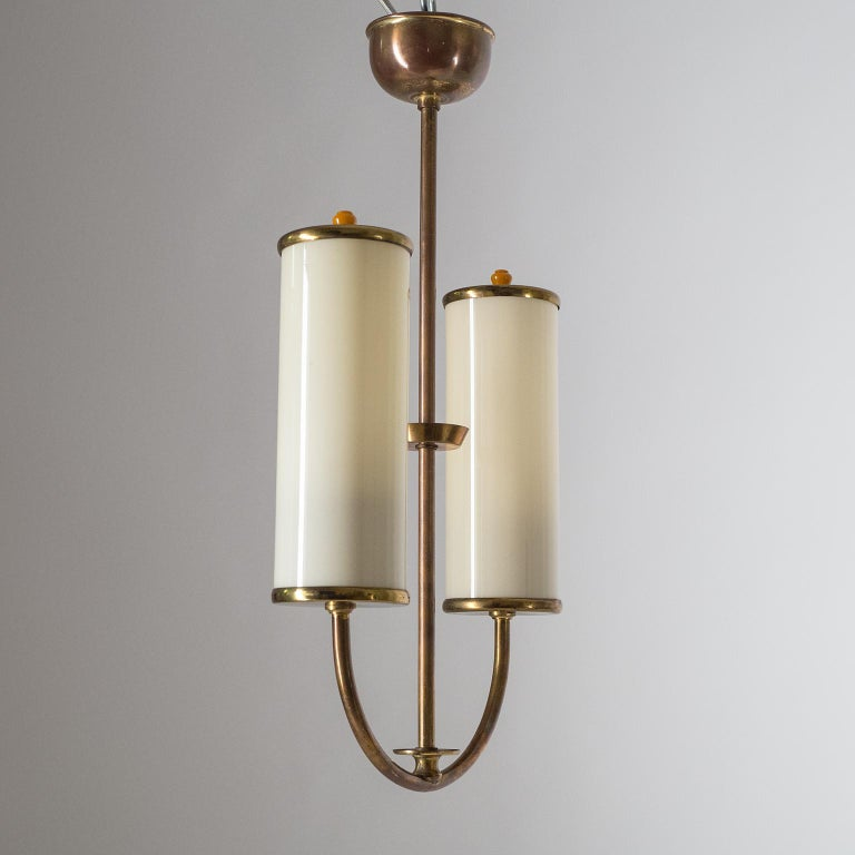 Art Deco Chandelier, 1930s, Ivory Glass and Brass For Sale 8