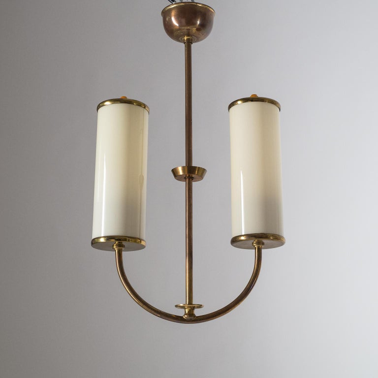 Art Deco Chandelier, 1930s, Ivory Glass and Brass For Sale 9
