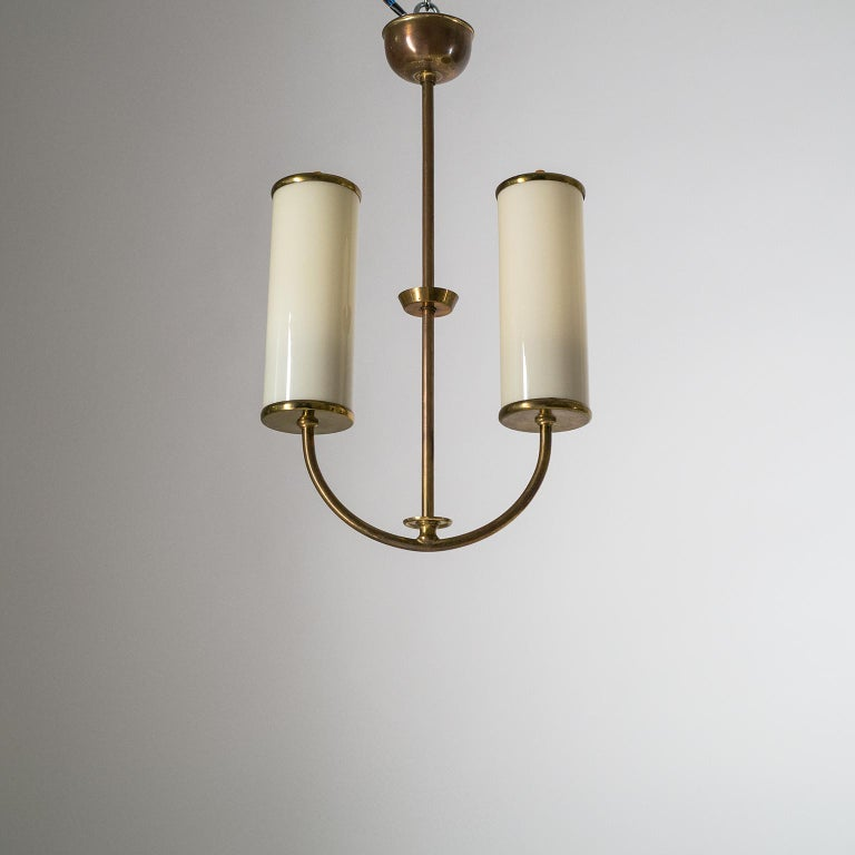Art Deco Chandelier, 1930s, Ivory Glass and Brass For Sale 10